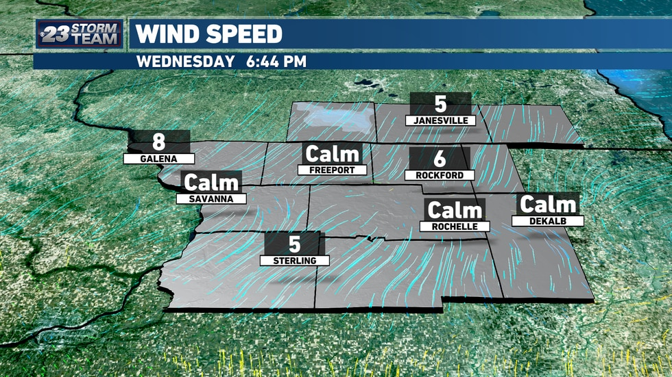 A cold front has passed through the region, sending winds out of the north our way.
