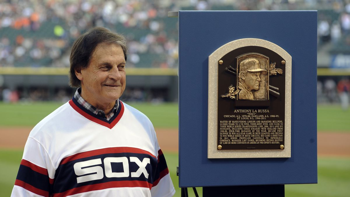 FILE - In this Aug. 30, 2014, file photo, former Chicago White Sox manager Tony La Russa stands...