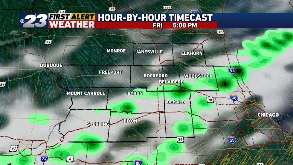 A few widely scattered showers and storms may be around in time for the evening commute Friday.