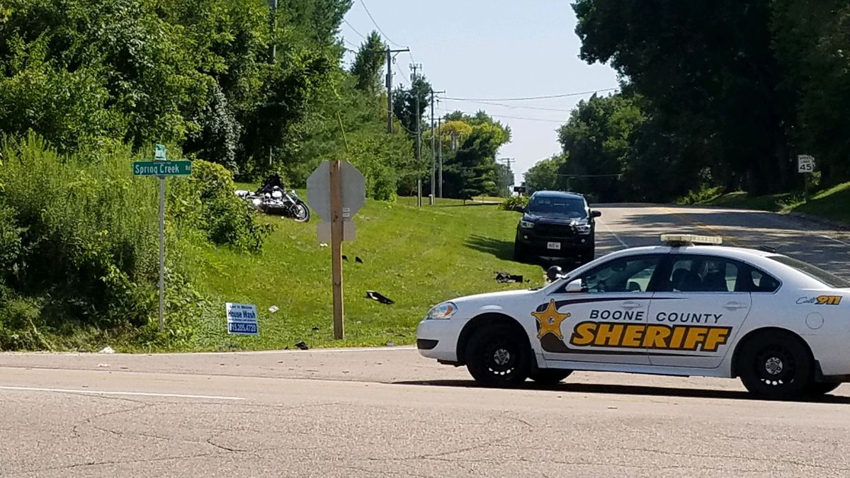 A 63-year-old man is dead after his motorcycle collided with a pickup truck on Thursday.