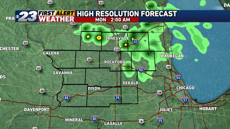 Showers and a few non-severe storms may occur overnight, especially north of the Wisconsin...