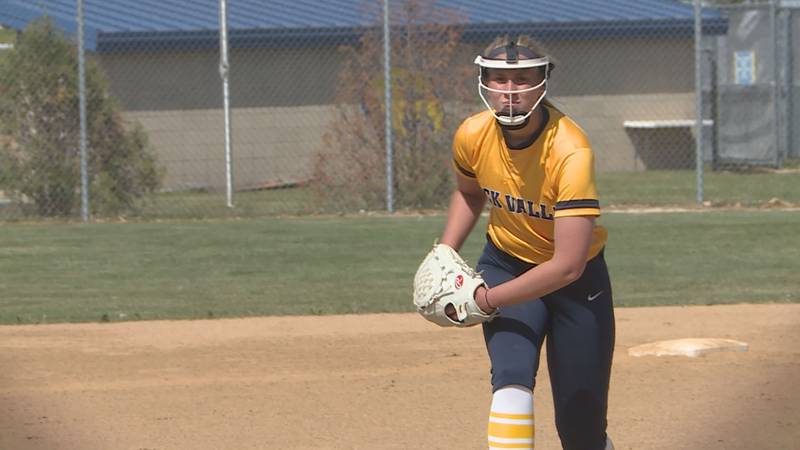 Rock Valley's Kenadee Nelson gets ready to throw a pitch in the Region IV semifinals against...