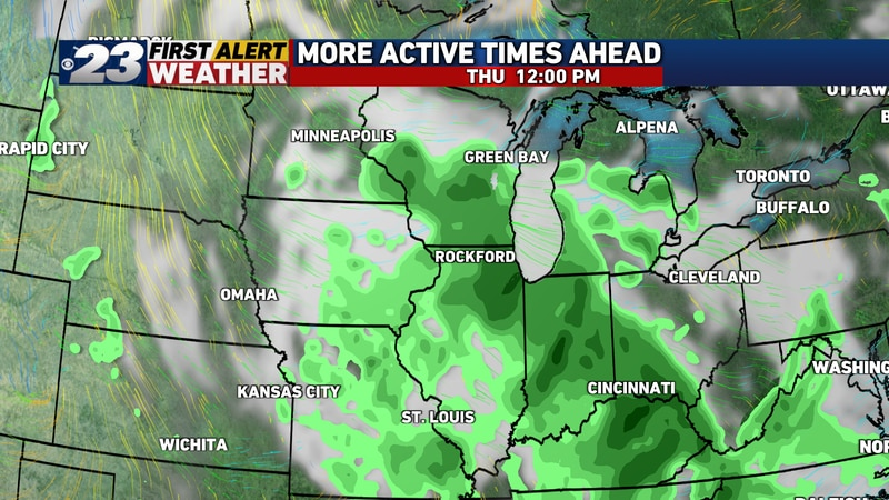 Rain's likely to continue with limited interruptions through midday Thursday.