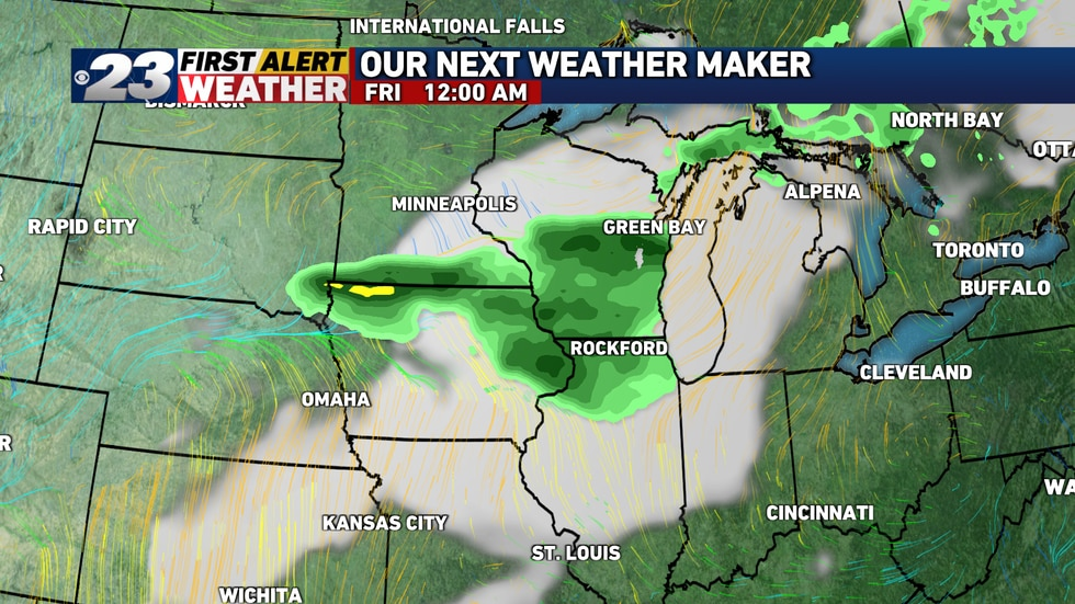 Showers and storms look to arrive right around the midnight hour.
