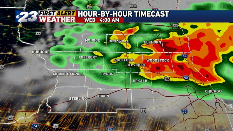 Another complex of storms may attempt to slide in from the north and northwest early Wednesday...