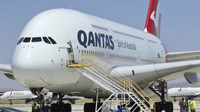 A Qantas Airbus A380 arrives at Southern California Logistics Airport in Victorville, Calif.,...