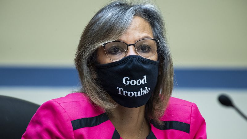 FILE - In this Aug. 24, 2020 file photo, Rep. Robin Kelly, D-Ill., listens during a House...
