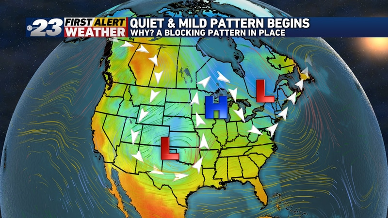 High pressure is in control over the nation's midsection, with low pressure on either side....