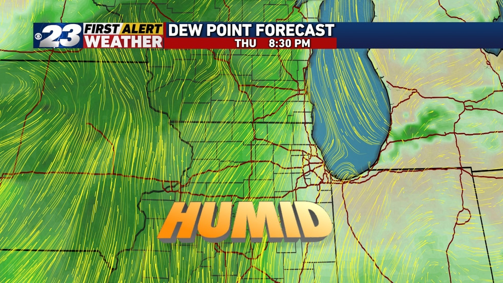 Humid time return, which will also bring us a southwesterly wind Thursday and help make our...