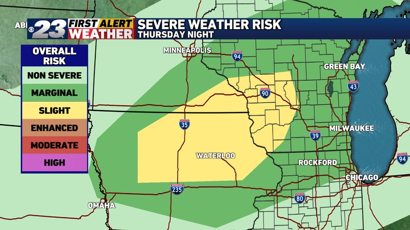 The main severe weather threat is positioned to the northwest of the Stateline Thursday night,...