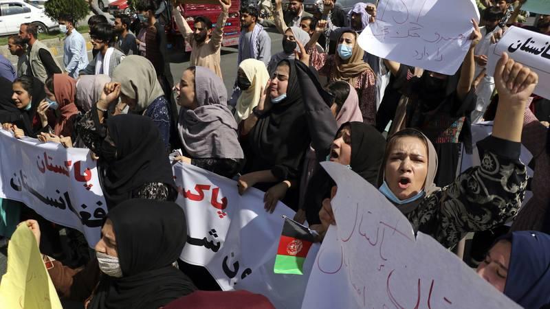 Afghan women shout slogans during an anti-Pakistan demonstration near the Pakistan embassy in...