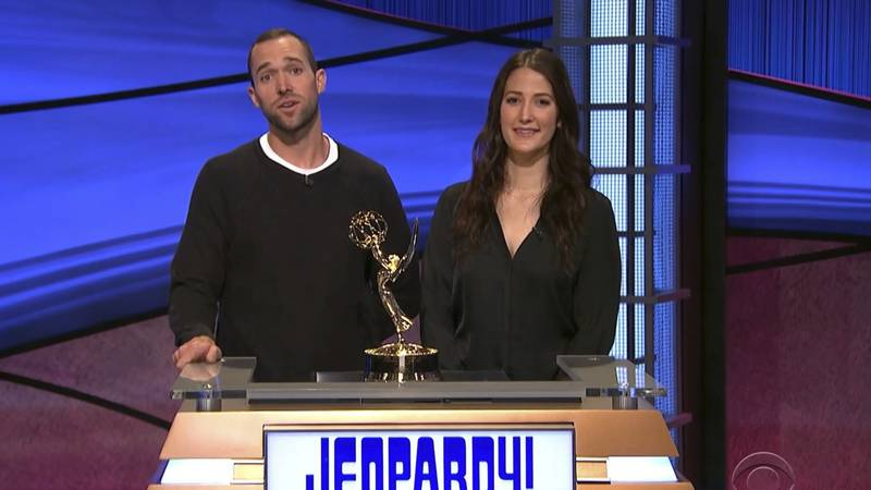In this video image provided by NATAS and the Daytime Emmys, Matt Trebek, left, and Emily...