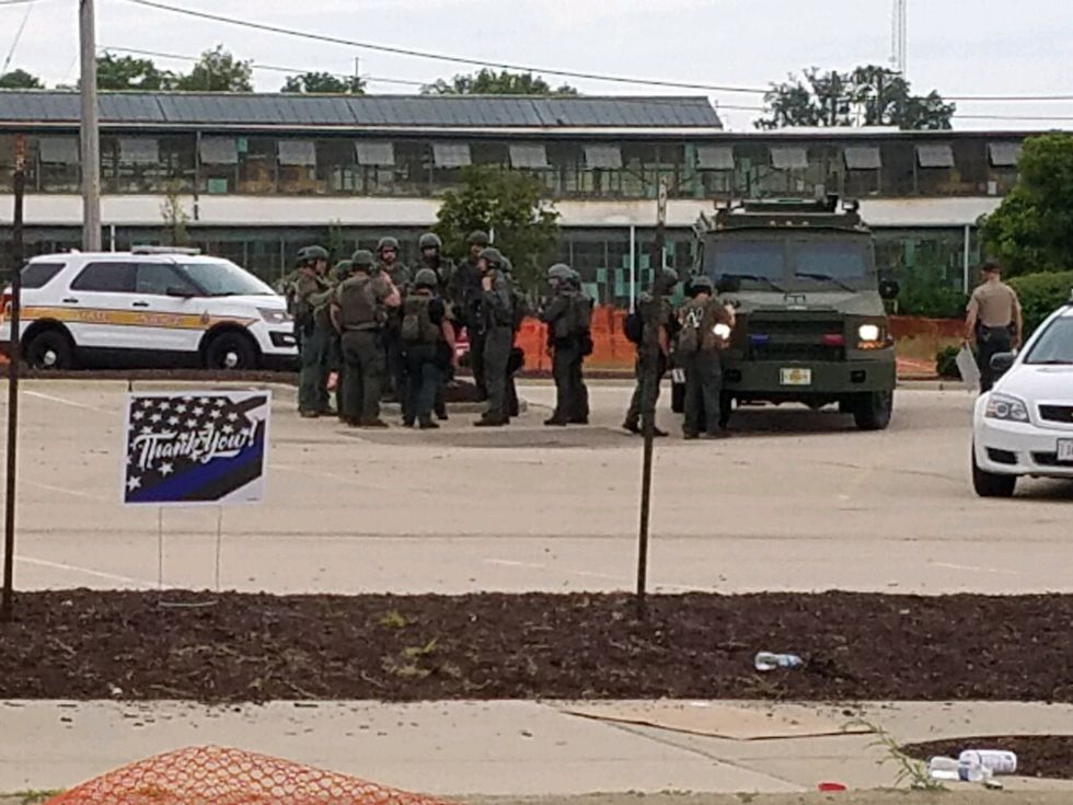 Rockford Police SWAT unit was on the scene of a protest in downtown Rockford this morning.