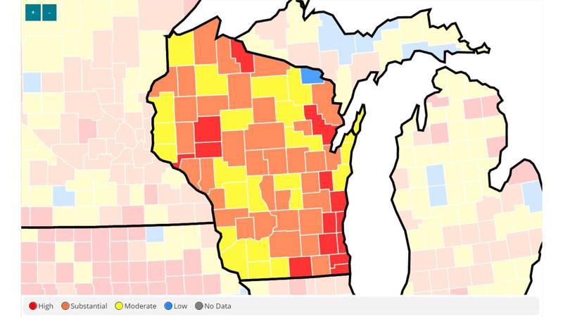 A map displaying community transmission levels of COVID-19 in Wisconsin on Tuesday, August 3,...