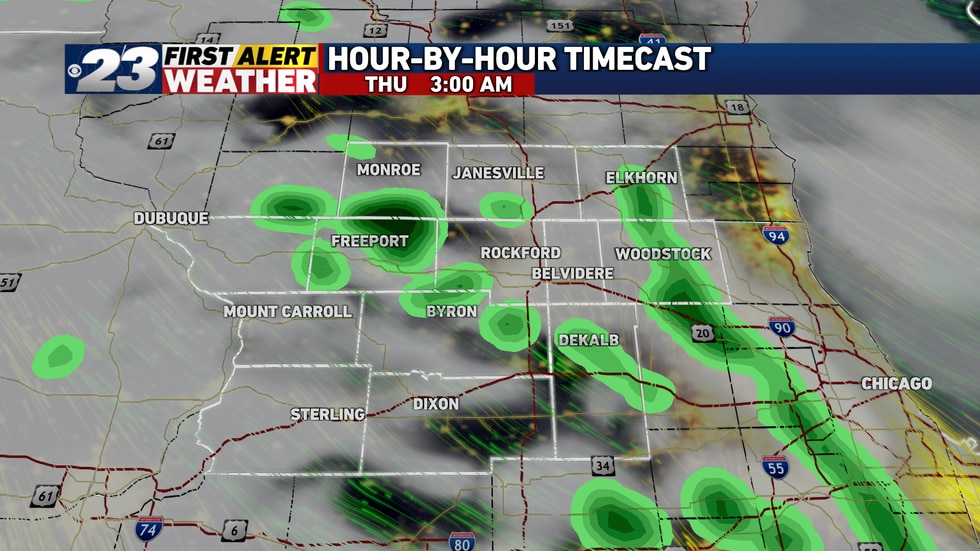 Showers and storms will rapidly dissipate after midnight.