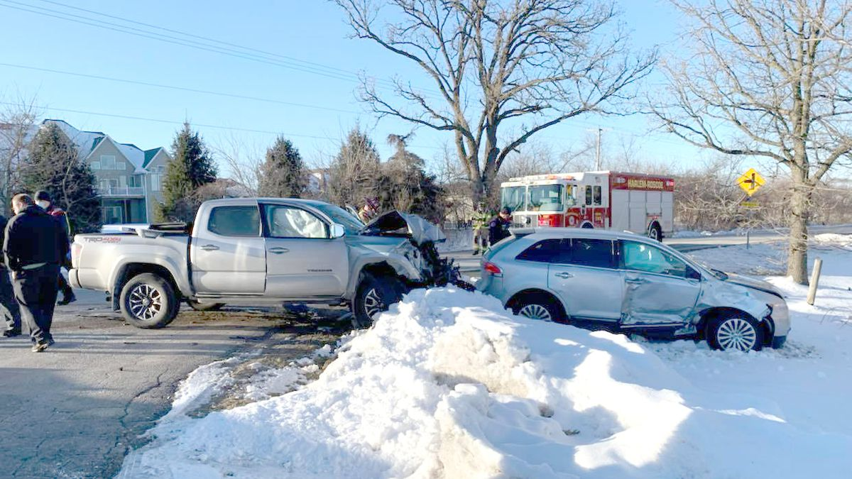 One hospitalized, two others injured in two vehicle crash