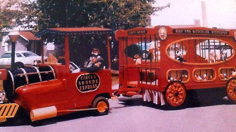 Here is Herb Dhuse driving the Circus Sounds Express wagon.