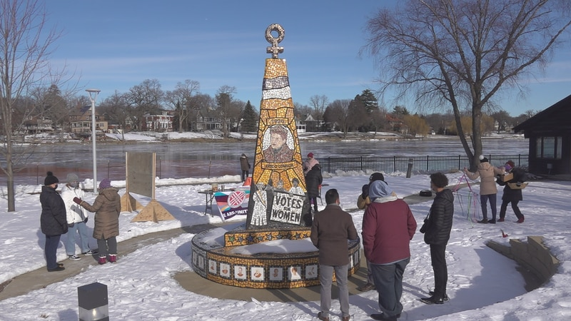 The event took place Saturday morning in front of the Women's Suffrage Centennial Sculpture,...