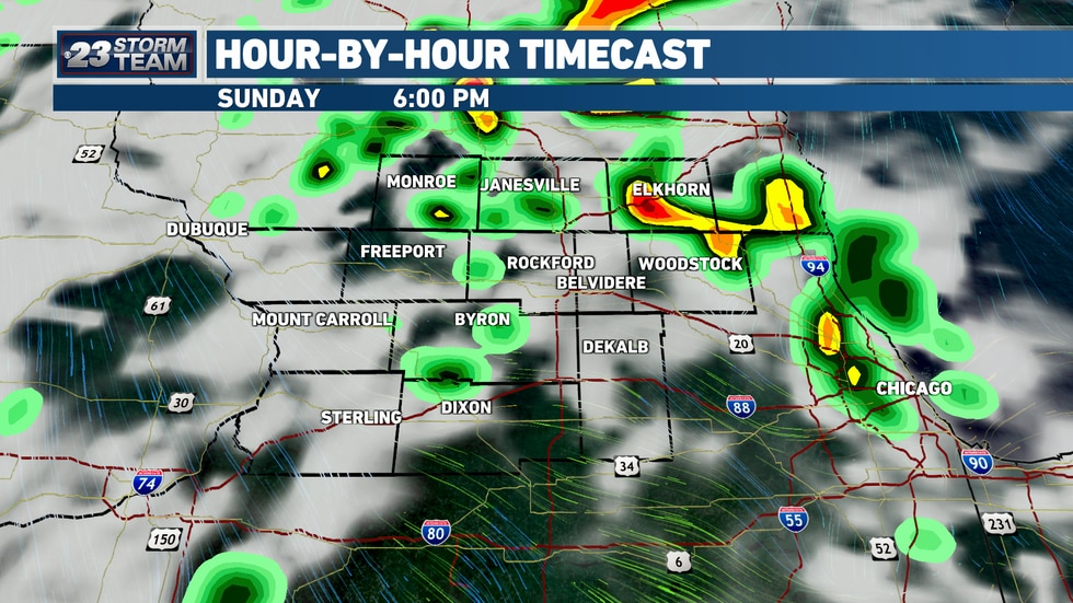 Sunday evening is when the cold front will move through the Stateline.