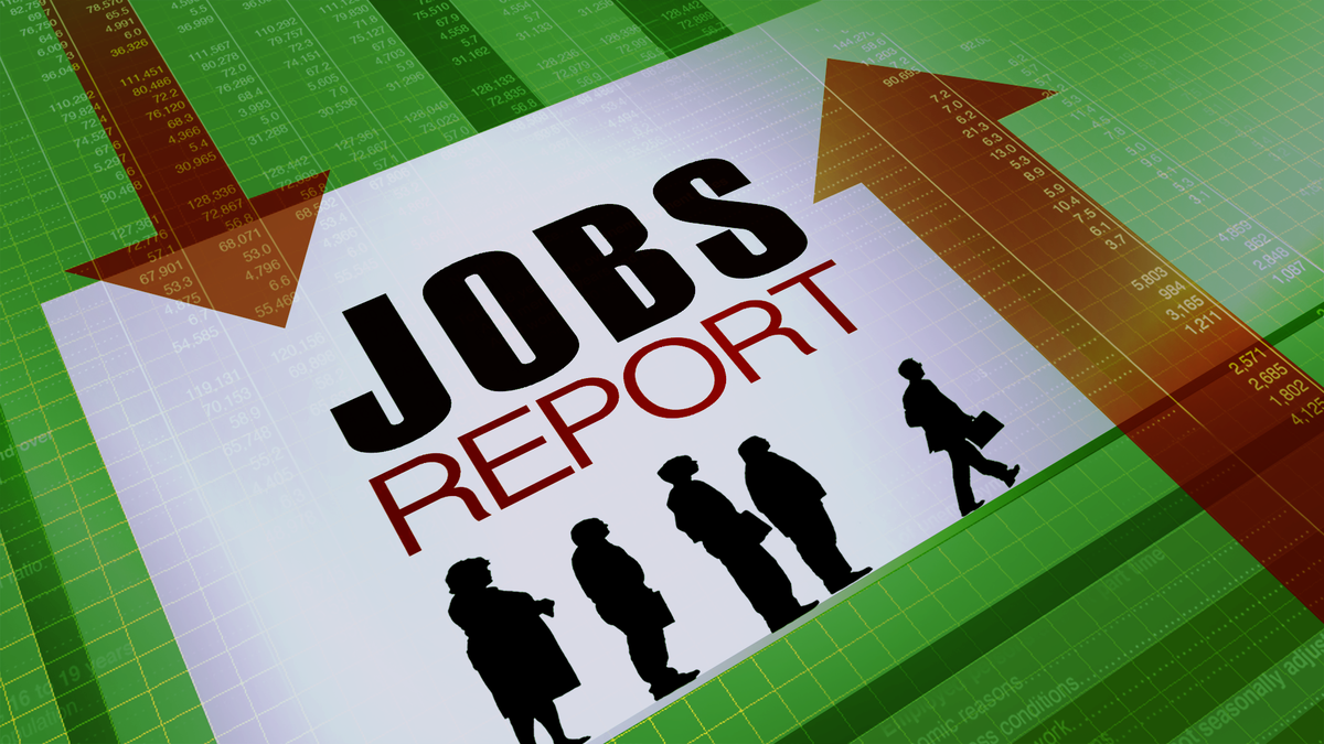 JOBS REPORT lettering, on chart texture, finished graphic
