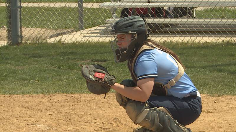 Rock Valley catcher Kirsten Fudge gets ready to receive a pitch. The sophomore is one of two...
