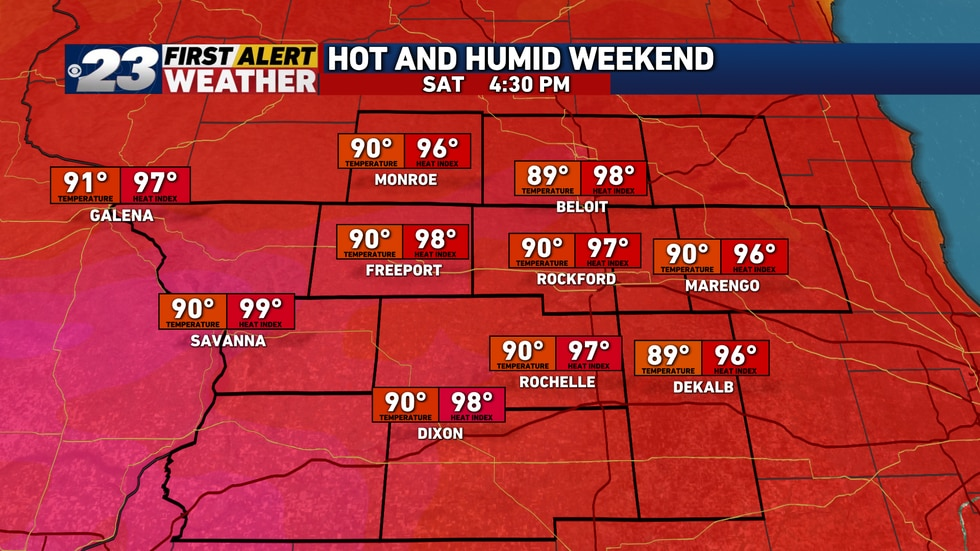 Hot and humid conditions are expected on Saturday, with dangerous heat index values near 100...
