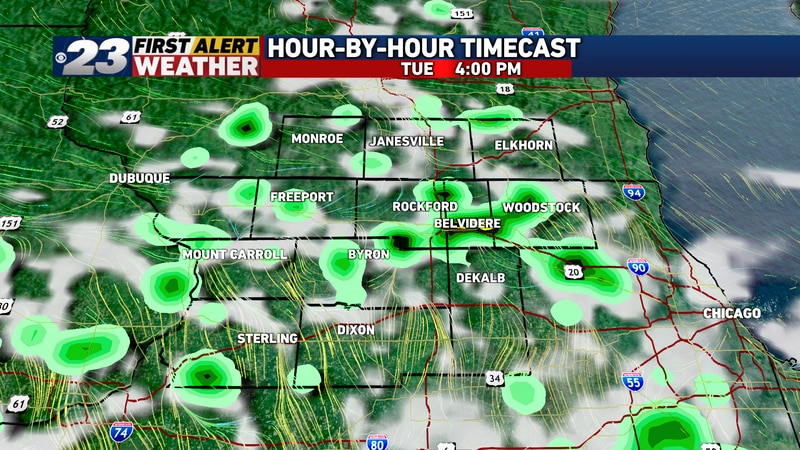 Rainfall coverage will maximize in the mid to late afternoon hours Tuesday.