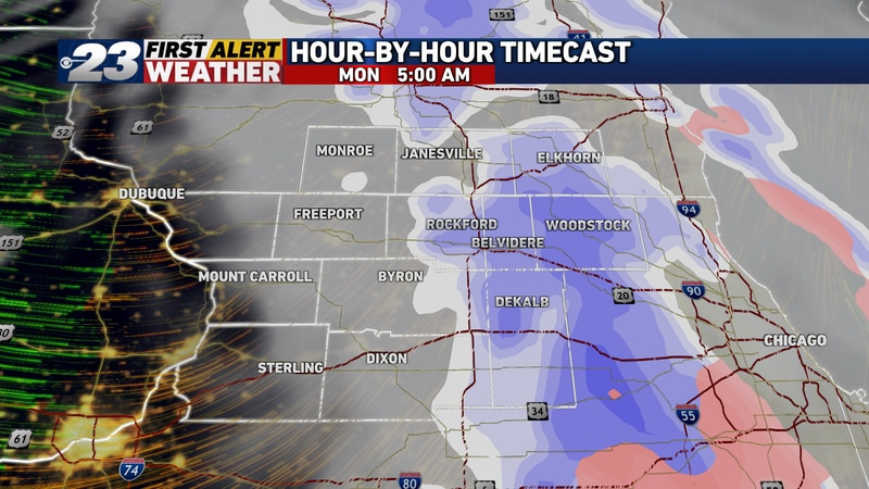 Snow should quickly be exiting off to our east as we approach sunrise Monday.