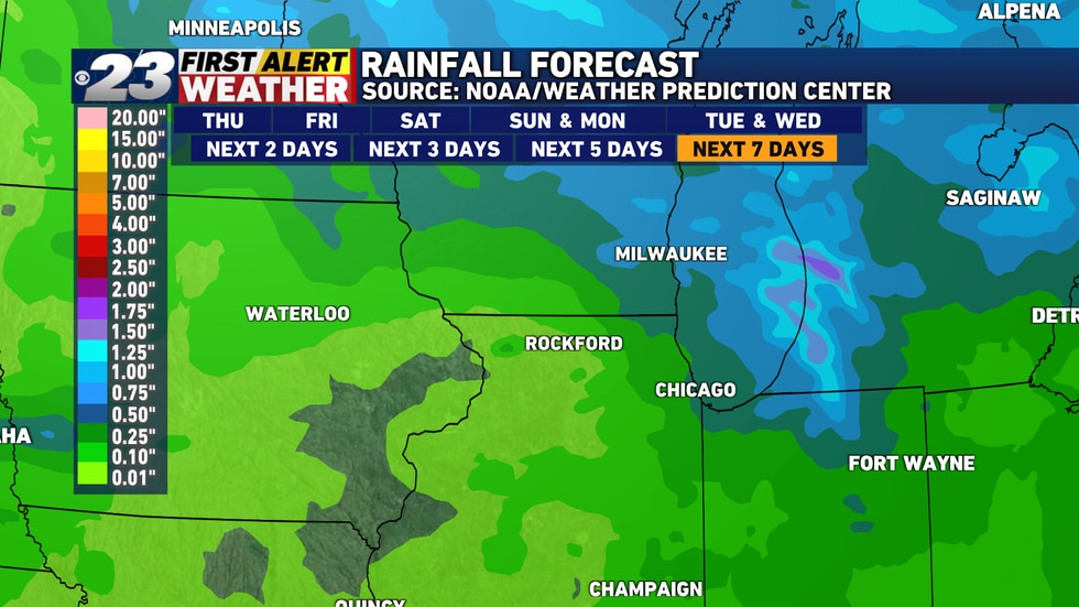 If you're looking for decent rainfall, don't be for the next week at least.