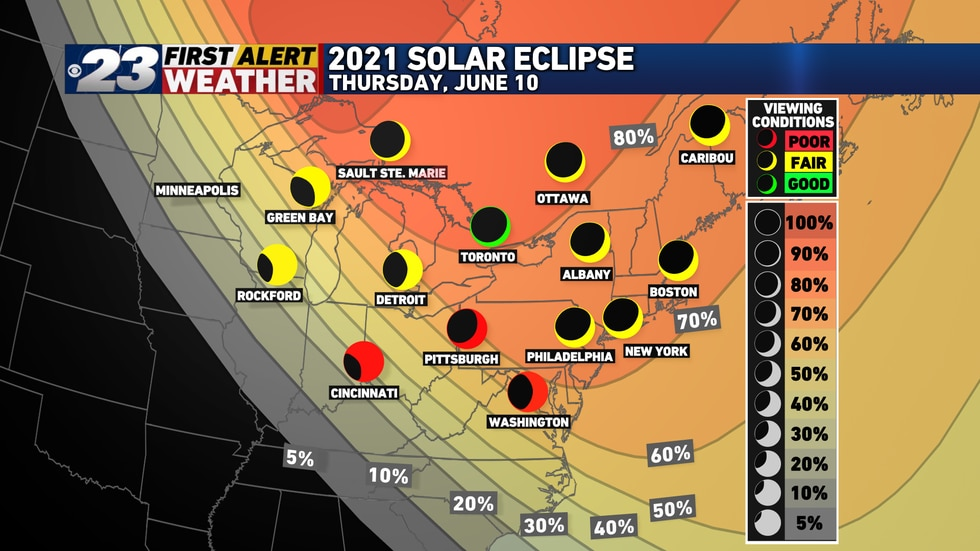 The Stateline should see anywhere from 20-30% of the eclipse.