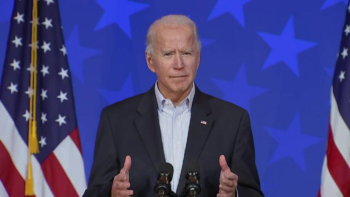Joe Biden makes remarks in Wilmington on Thursday afternoon.