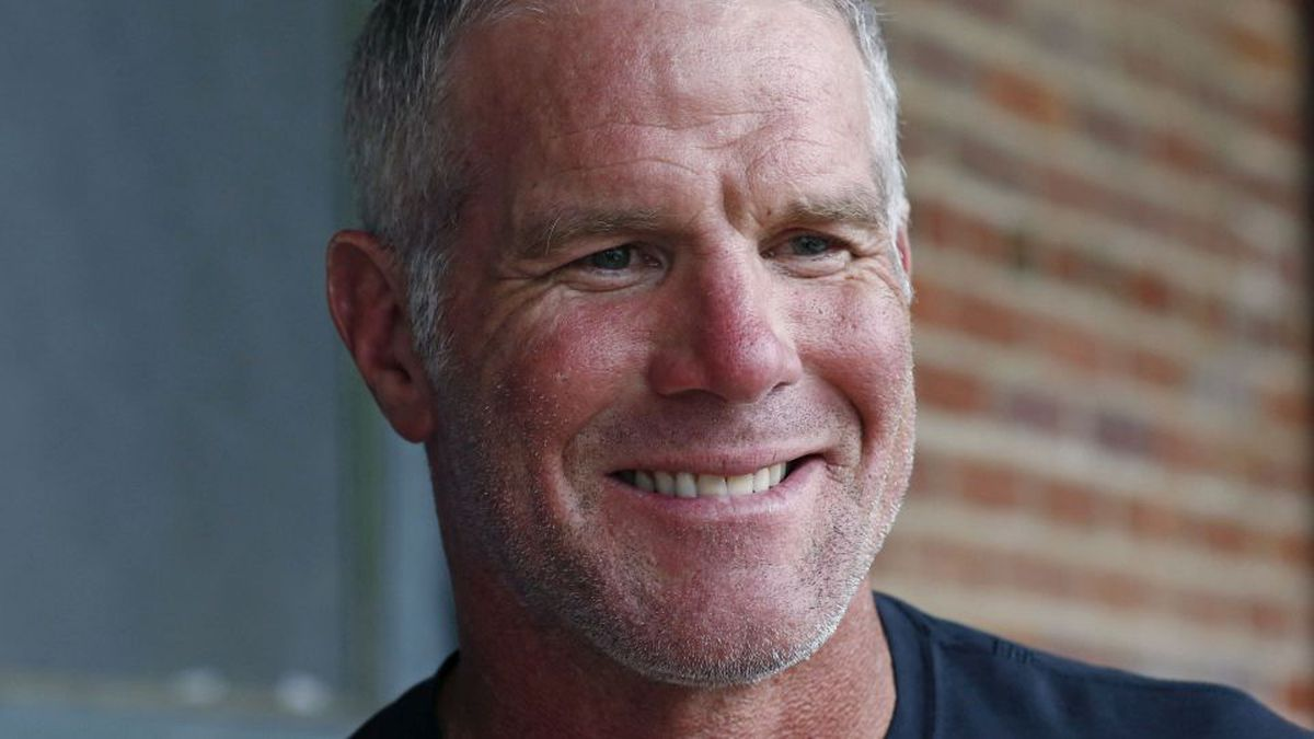 NFL Hall of Fame quarterback Brett Favre speaks with reporters about his support for Willowood...