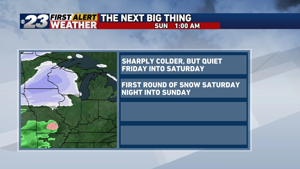 A weak disturbance is to bring widespread light snow our way Saturday night into Sunday...