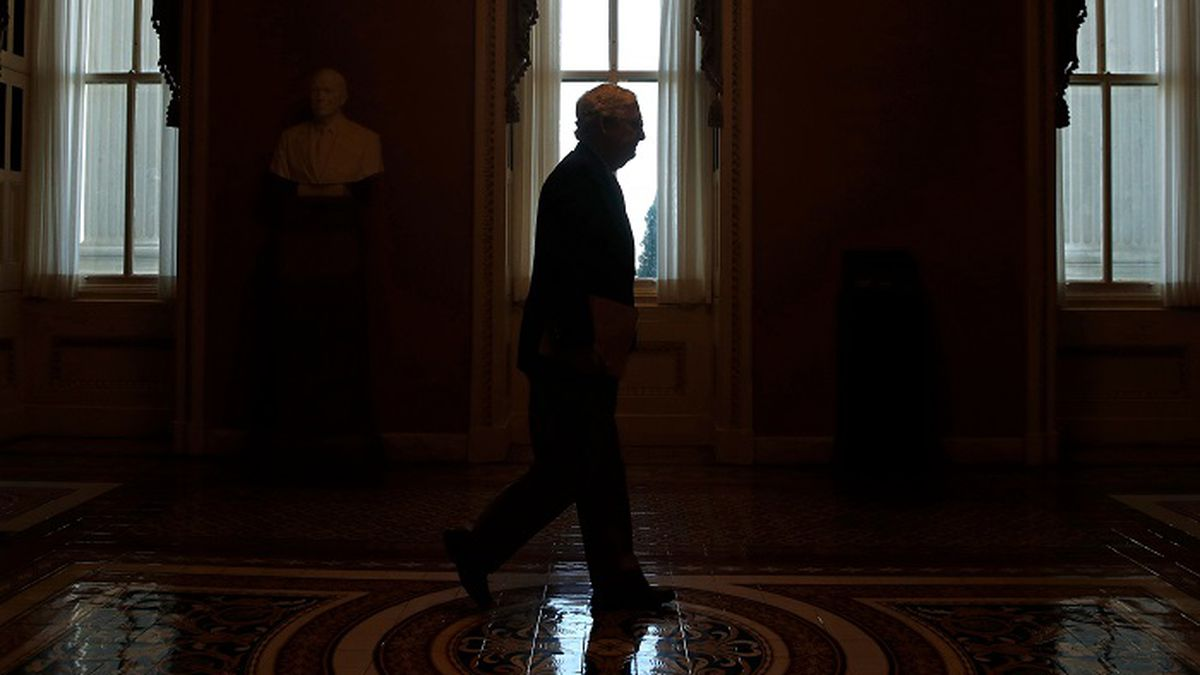 FILE - In this April 9, 2020, file photo Senate Majority Leader Mitch McConnell of Ky., walks to the Senate chamber on Capitol Hill in Washington. The Senate is set to resume Monday, May 4. (Source: AP Photo/Patrick Semansky, File)