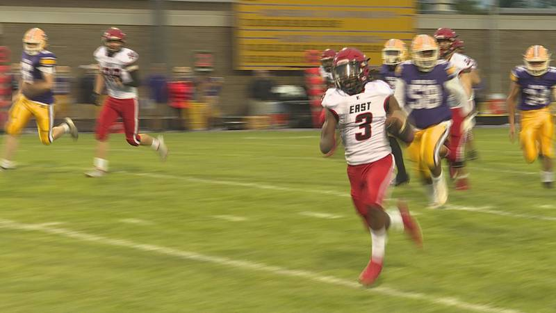 No. 1: Rockford East's Deterrace Dotson emerges from the line of scrimmage and is way ahead of...