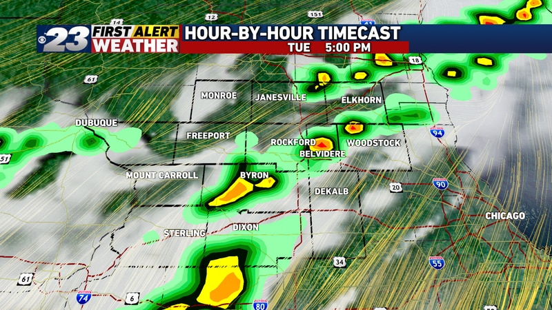 Scattered showers and storms are likely to occupy about half of the Stateline as we transition...