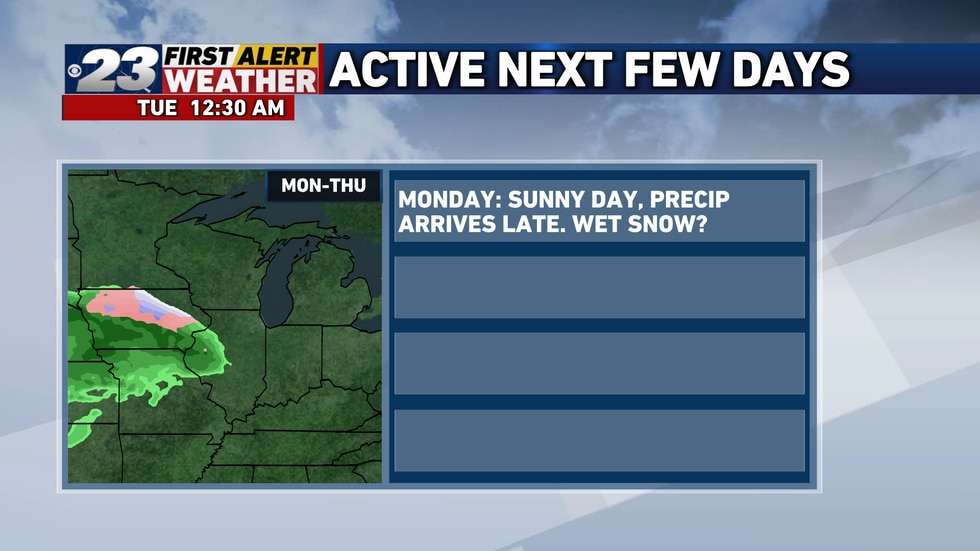 The precipitation will hold off until very late Monday going into Tuesday.