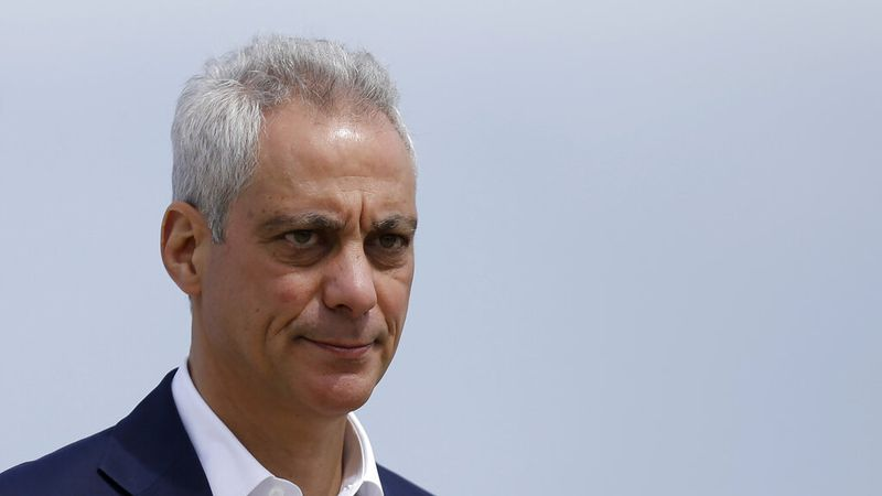 In this April 22, 2019, file photo, Chicago Mayor Rahm Emanuel waves as he arrives at a news...