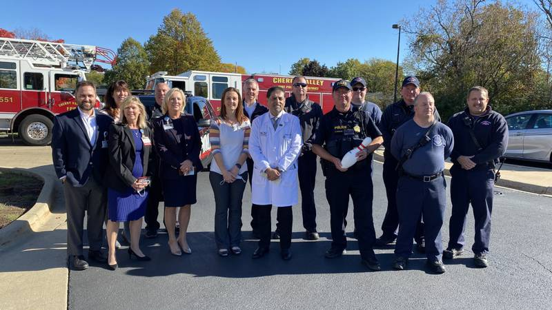 Cherry Valley Police, Fire Departments donate funds from laser tag to OSF Healthcare
