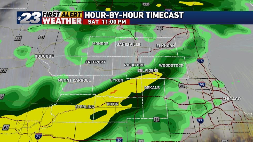 This slow-moving low pressure system will give us more showers later Saturday into Sunday.