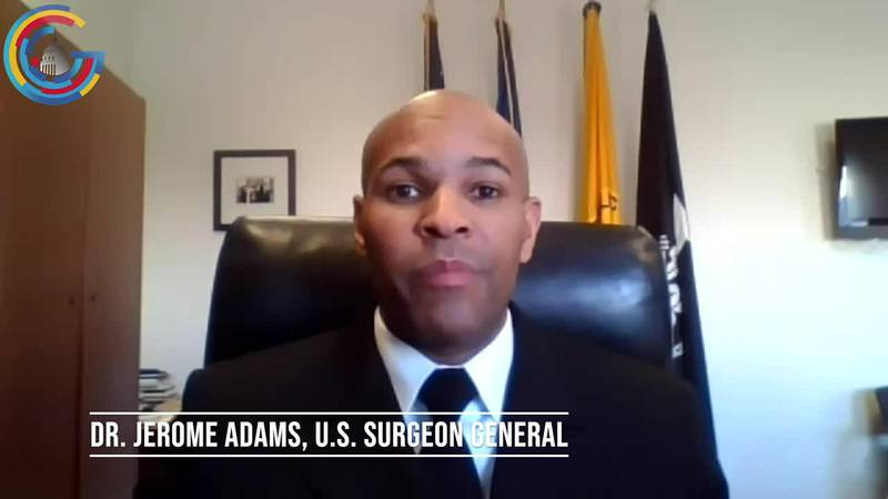 U.S. Surgeon General does an interview over Zoom about COVID-19 issues of the day.