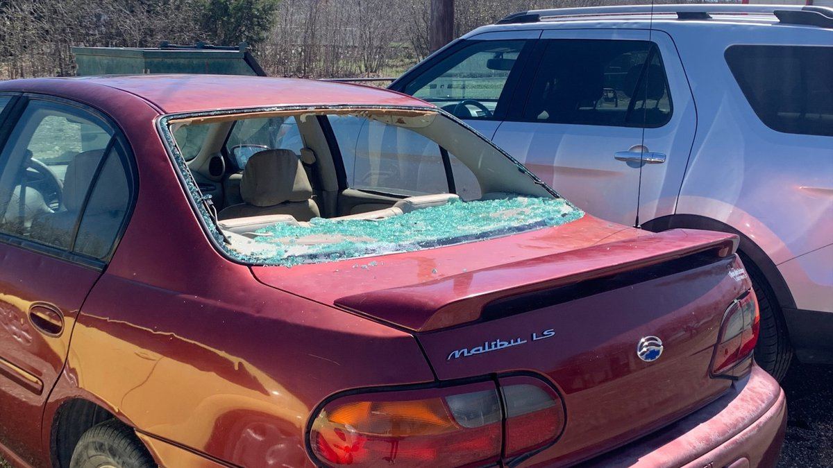 Hail damaged more than 30 vehicles at one Goldthwaite dealership.