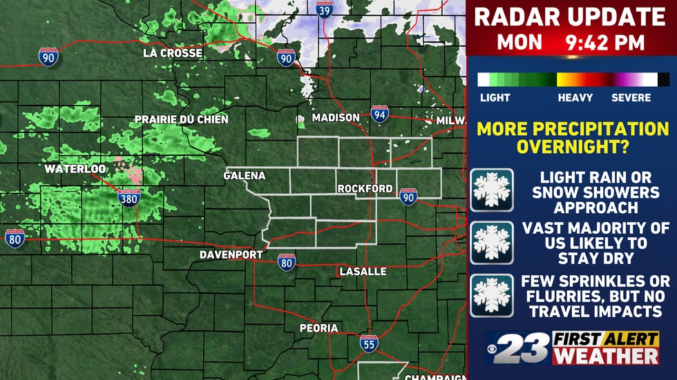 Sprinkles and light rain showers are approaching from the northwest. A few may swing in...