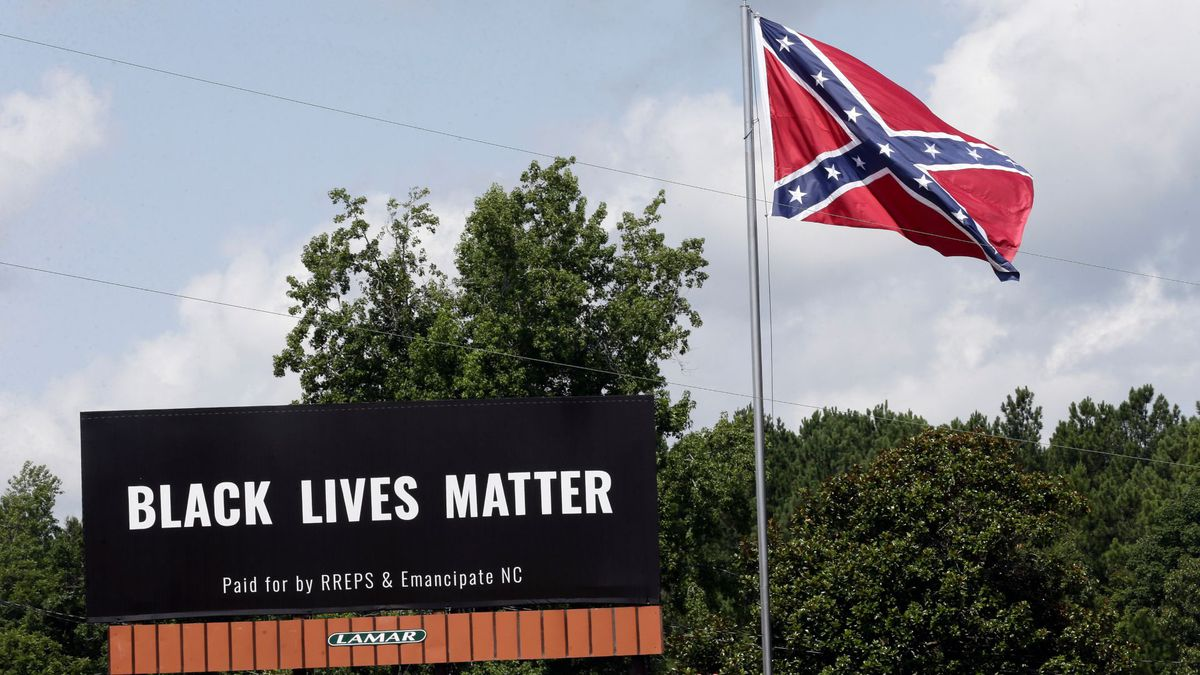 Christmas Tree Removal Pittsboro In 2020 Black Lives Matter billboard placed next to Confederate flag