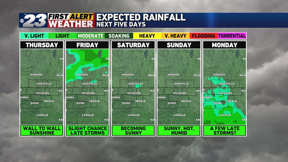 There are two rain chances in the next five days, but neither will amount to much.