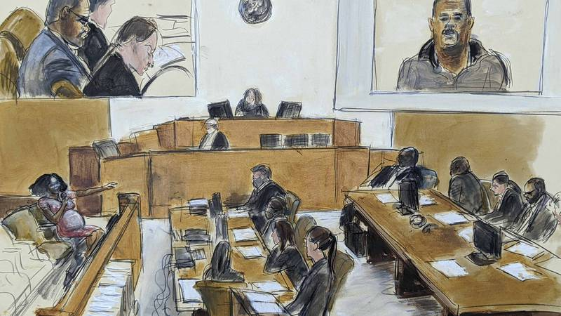 In this courtroom artist's sketch made from a video screen monitor of a Brooklyn courtroom,...