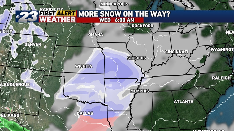 A second winter storm will wallop the Southern Plains, and it will lift northeastward Tuesday.
