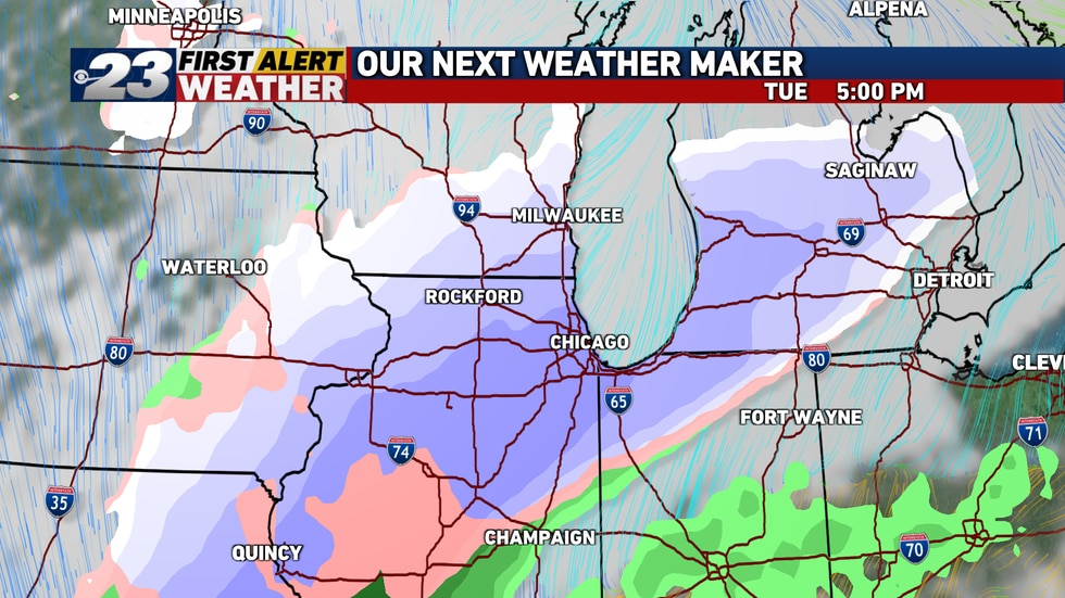 It's looking likely the rain late Monday will turn to all snow especially Tuesday.