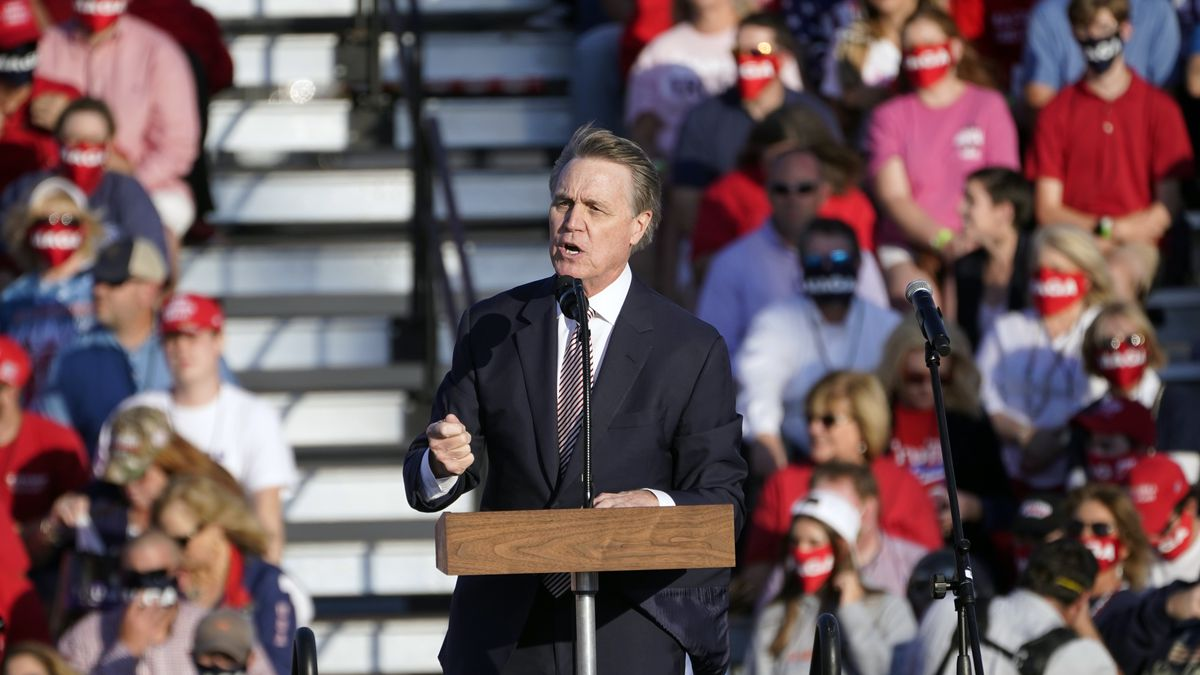 Sen. David Perdue, R-Ga., speaks during a campaign rally for President Donald Trump at Middle Georgia Regional Airport, Friday, Oct. 16, 2020, in Macon, Ga.