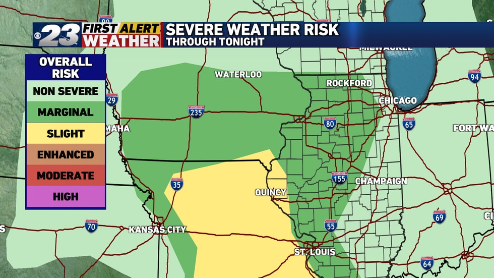 All of northern Illinois finds itself in a Level 1, Marginal Risk for severe weather overnight.